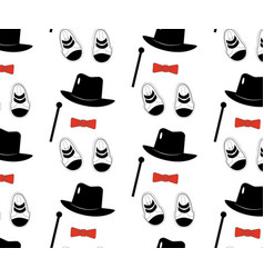 seamless pattern of clothes elements hat cane vector image