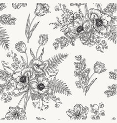 seamless pattern with anemones spring flowers vector image