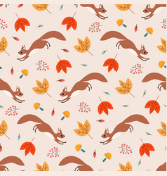 seamless pattern with squirrel leaves and twigs vector image