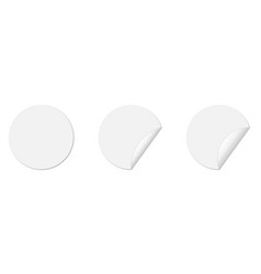 set circle adhesive stickers with folded edges vector image