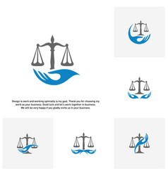 set of law care logo design template law firm vector image