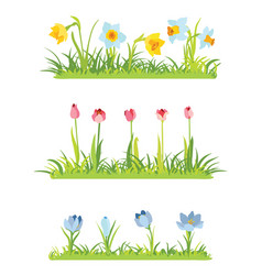 Set of spring april flowery borders for easter vector