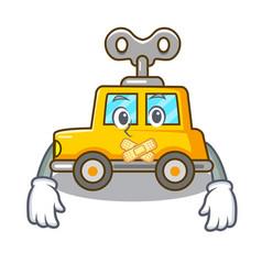Silent clockwork toy car isolated on mascot vector