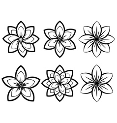 Simple Black and White Flowers3 vector