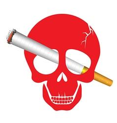 Skull danger with cigarette for World No Tobacco vector image
