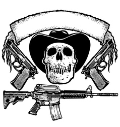 Skull guns and banner vector