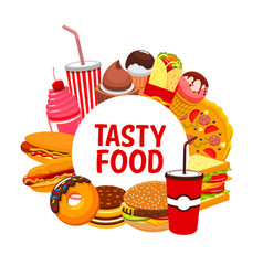 Street food meals and snacks fastfood menu vector