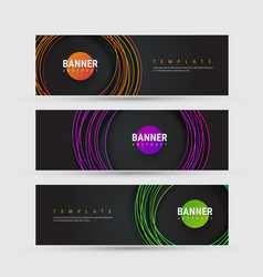 template of black banner with round multicolored vector image