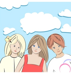 Three young girls vector