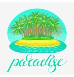 Tropical island with lettering vector
