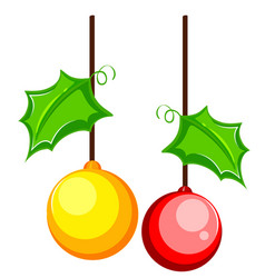 two christmas tree ornaments vector image