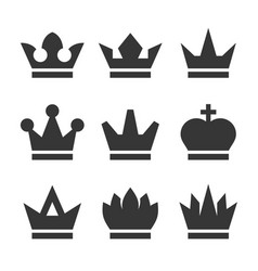 vintage antique crowns icons set on white vector image