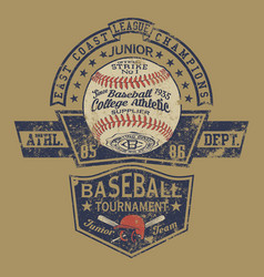 Vintage baseball champion college athletic vector
