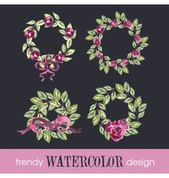 Watercolor Set of Four Rose WreathsTrendy Design vector