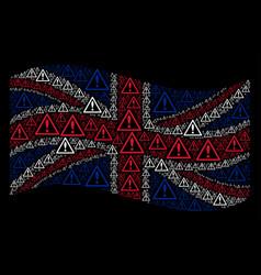 Waving united kingdom flag mosaic of warning items vector