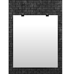 White poster mock up template on black brick wall vector