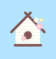 Wooden birdhouse with flowers for birds vector