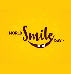 word world smile day in flat style vector image