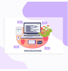 workplace of programmer or coder vector image