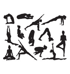 yoga pose women silhouettes vector image