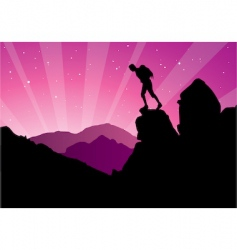 climber silhouette vector image vector image
