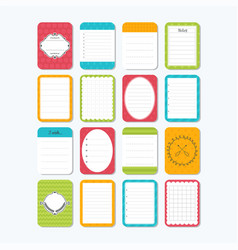 collection of various note papers cute design vector image