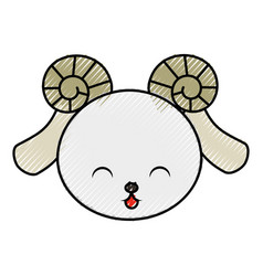 cute scribble goat face vector image vector image