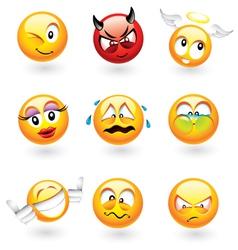emoticons set vector image vector image