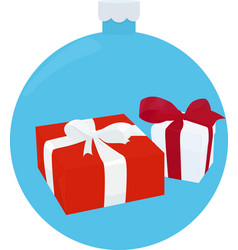 white and red gift box with ribbon and bow on blue vector image vector image