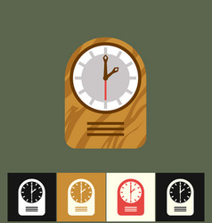 clock icon flat wood analog vector image vector image
