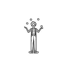 clown having juggle skills hand drawn sketch icon vector image