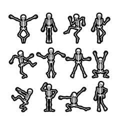 Crazy dancing skeletons stickers set vector image