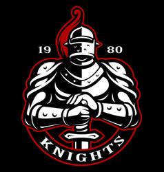 emblem of knight with sword vector image vector image
