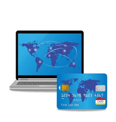 credit card and computer vector image vector image