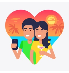 Holiday selfie couple 2 vector