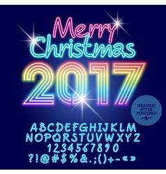 Light up rainbow Merry Christmas 2017 greeting car vector image vector image