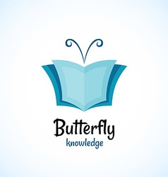 Open book logo witn butterfly horns at the top vector image vector image