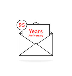 thin line 95 years anniversary logo like black vector image vector image