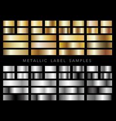 a set of various metallic label samples vector image