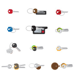 big keys set twelve different keys collection vector image
