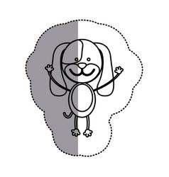 contour teddy dog icon vector image