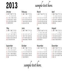 generic 2013 calendar landscape vector image vector image