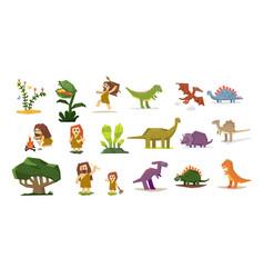 prehistoric stone age elements set primitive vector image