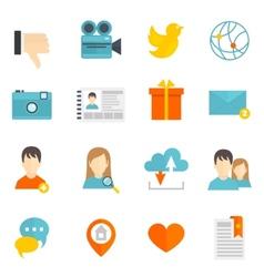 Social icons set flat vector image