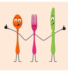 Spoon knife and fork cartoon vector image vector image