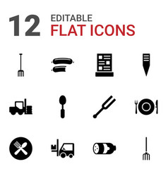 12 fork icons vector