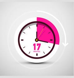 17 seventeen minutes symbol on clock icon vector image