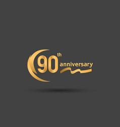 90 years anniversary logotype with double swoosh vector
