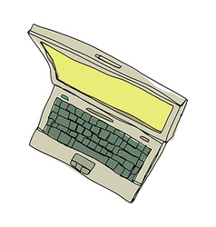 A laptop is placed vector