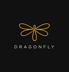 abstract line art dragonfly logo icon template vector image